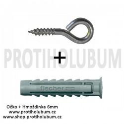 Očko s vrutem 4mm Zn + Hmoždinka Fischer SX 6x30 do plného materiálu  www-proti-holubum-cz