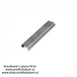 Kroužkové C spony pro profi přichycení sítě Al - hliník 50ks www-proti-holubum-cz