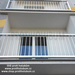 Síť proti holubům – 3,95x1,8m NEZATEPLENÁ FASÁDA Kompletní sada pro montáž balkon / lodžie